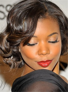 African American Short Curly 100% Human Hair Lace Front Wigs 10 Inches