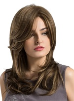 Long Natural Wave Frontal Fringe Synthetic Capless Women Wigs