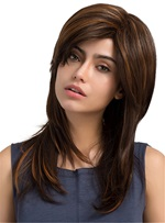 Long Straight Layered Cut Synthetic Side Fringe Capless Women Wigs