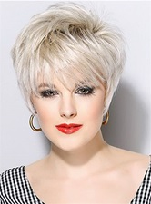 Short Straight Boy Cut Synthetic Hair Capless Wigs 8 Inches
