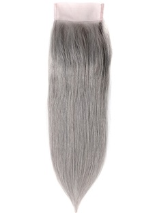 Dark Grey Human Hair Straight Women Closure