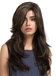 Long Natural Wave Side Bang Sythetic Capless Women Wigs