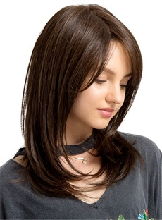 Side Fringe Long Natural Straight Synthetic Capless Women Wigs