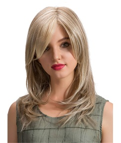 Light Color Layered Cut Side Fringe Synthetic Capless Women Wigs