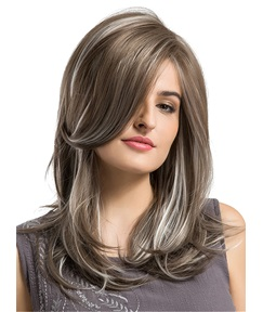 Long Straight Mix Color Side Fringe Synthetic Capless Women Wigs