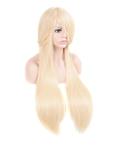 Light Golden Silky Straight Synthetic Hair With Bangs Capless Cap Wigs 32 Inches