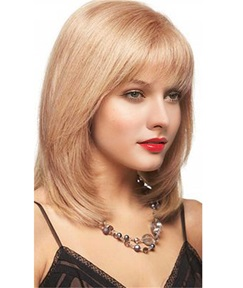 Full Bang Shoulder Length Layered Cut Human Hair Blend Women Wigs