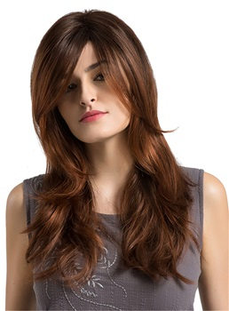 Dark Root Brown Natural Wave Synthetic Women Capless Wigs
