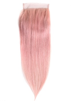 Pink Straight Human Hair Women Closure