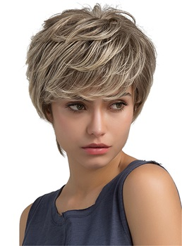 Mix Color Layered Choppy Cut Human Hair Blend Capless Wigs