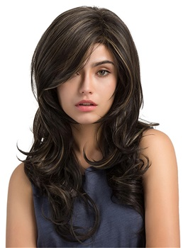 Long Body Wave Mix Color Synthetic Capless Wigs with Bangs