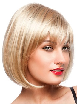 Bobstyle Shoulder Lenght Choppy Bang Capless Human Hair Blend Wigs