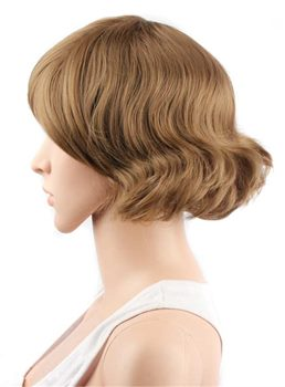 Honey Brown Short Synthetic Hair With Straight Bangs Capless Cap Wigs 10 Inches