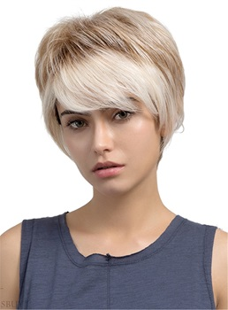 Short Straight Boycut Human Hair Blend Capless Wigs
