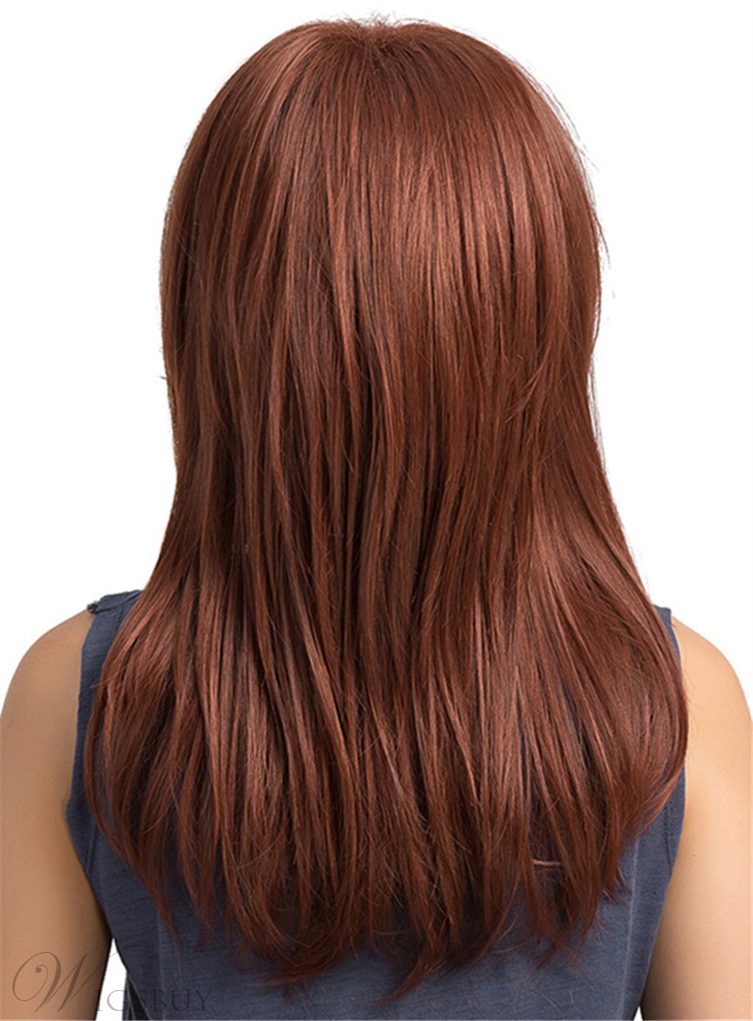 Natural Straight Red Synthetic Long Capless Women Wigs