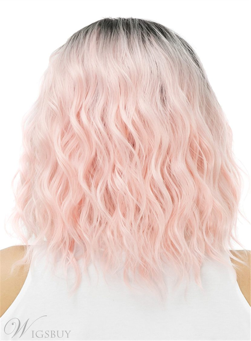 Pink Loose Wave Ombre Dark Root Medium Synthetic Hair Capless 14 Inches