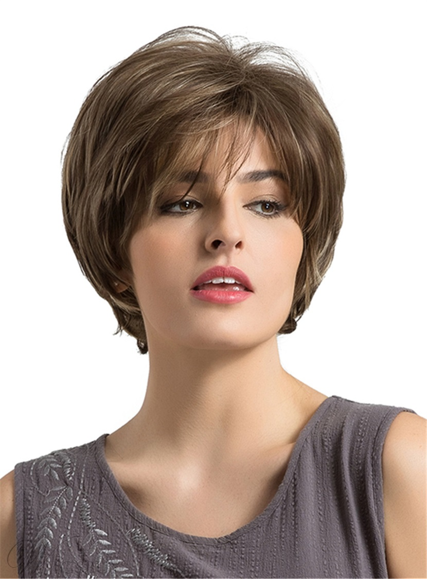 Boycut Choppy Style Short Straight Synthetic Women Wigs