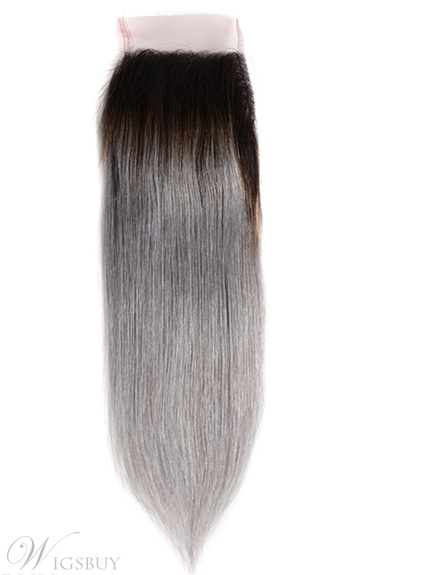 Black Root Grey Straight Human Hair Women Closure