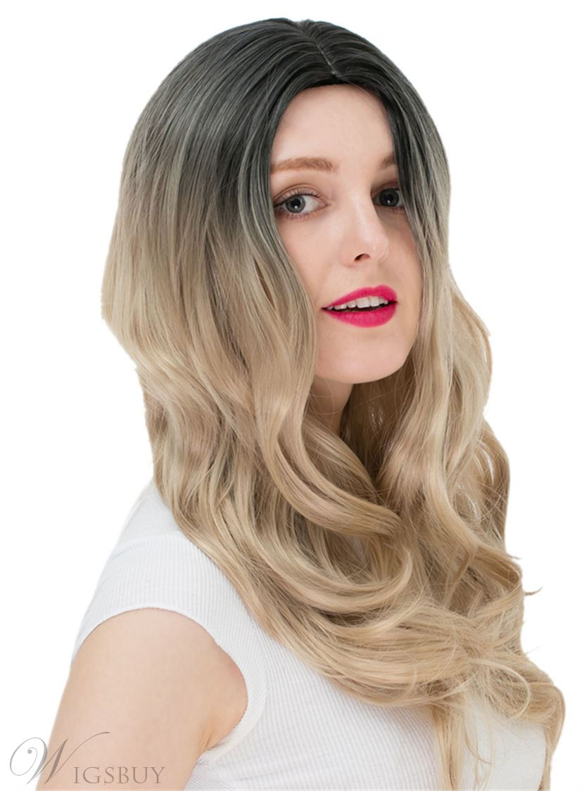 Ombre Hair Brown Long Wavy Synthetic Hair Capless Cap Wigs 24 Inches