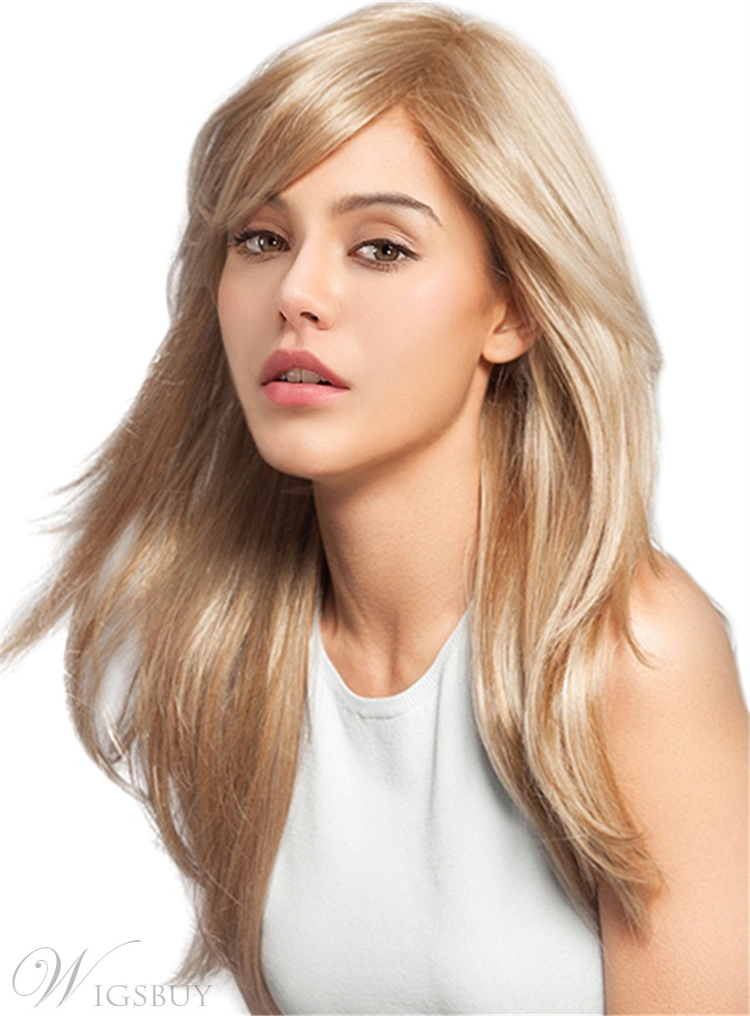 Blonde Color Long Straight Side Fringe Human Hair Blend Women Wigs