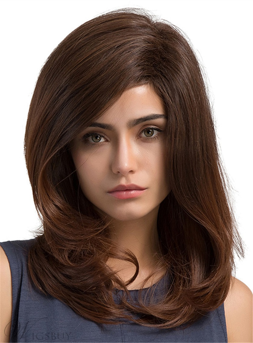 Natural Straight Brown Color Bob Layered Cut Capless
