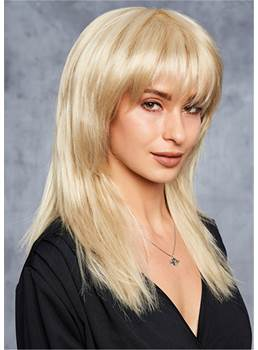 Layered Sexy Straight Natural Synthetic Hair Wigs with Bangs 14 Inches