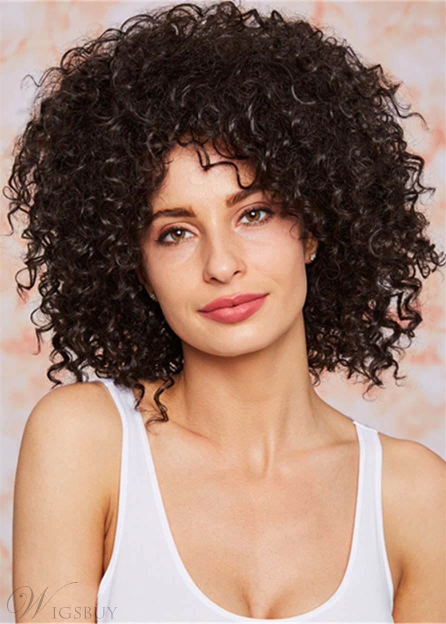 150% Density Beautiful Long Afro-curly Hairstyle Capless Wig Synthetic Hair 16 Inches