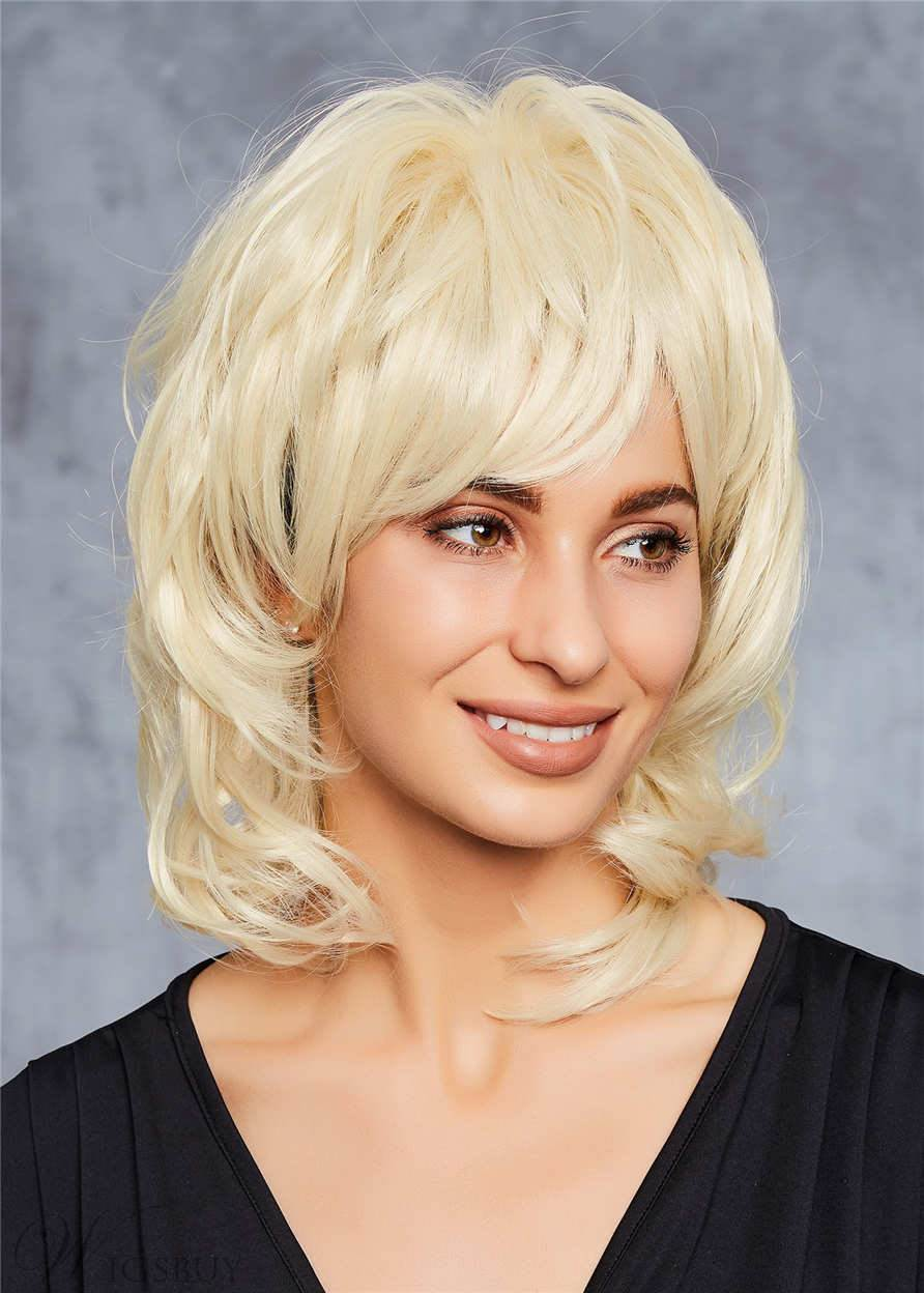Dolly Parton Layered Blond Mid Length Hair Synthetic