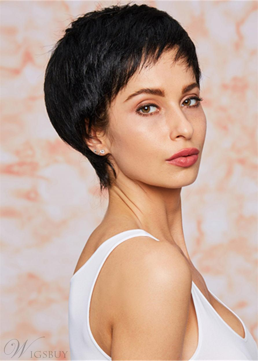 African American Pixie Short Straight Human Hair Capless Wigs