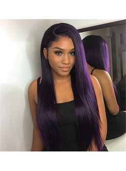 Wigsbuy Ombre 1B/Purple Human Hair Natural Straight Weft 3 Bundles
