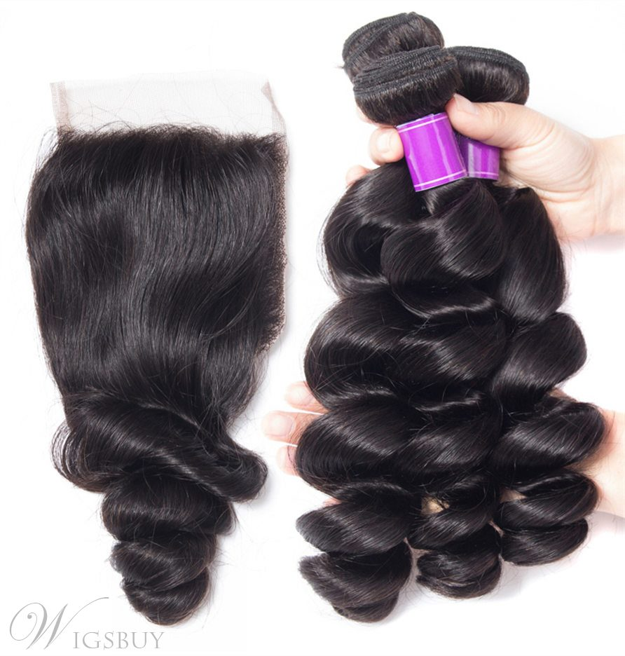 Wigsbuy Lace Closure With Brazilian Loose Wave Hair 3 Bundles
