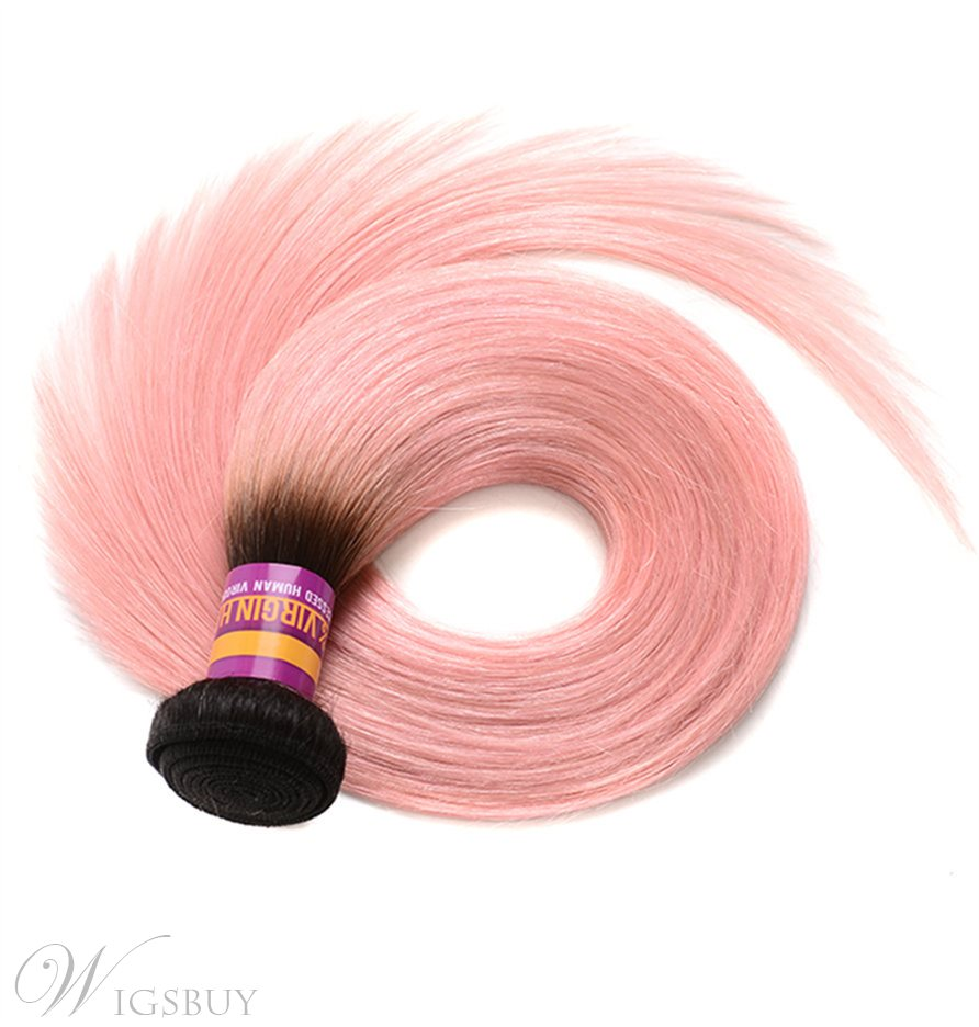 Wigsbuy 1B Pink Omber Human Hair Weave Straight Hair 3 Bundles