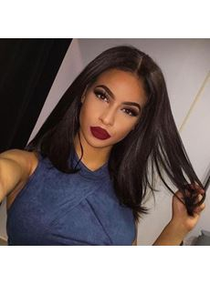 Bob Human Hair Short Wigs Middle Length Straight Lace Front Wig
