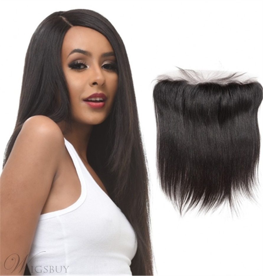 Wigsbuy Brazilian Straight Remy Human Hair 13x4 Lace Frontal Ear to Ear