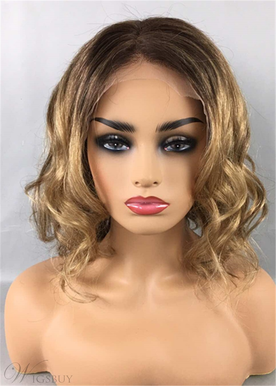 Bob Hairstyle Mixed Color Wavy Human Hair Lace Front Wigs 12 Inches