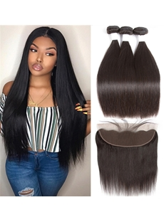 Wigsbuy 3 Bundles Brazlian Hair Natural Straight Human Hair With Lace Frontal