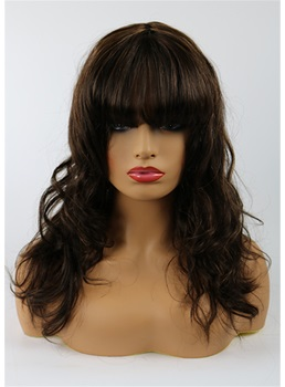 Beautiful Medium Natural Straight Mixed Dark Brown 100% Human Hair Capless Wig 14 Inches