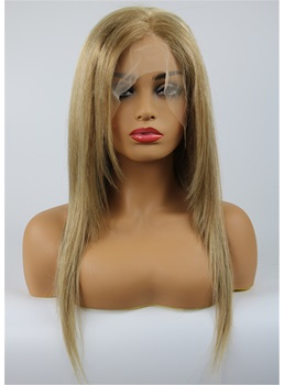 Youthful Mixed Color Medium Straight Full Lace Wig 100% Human Hair 16 Inches