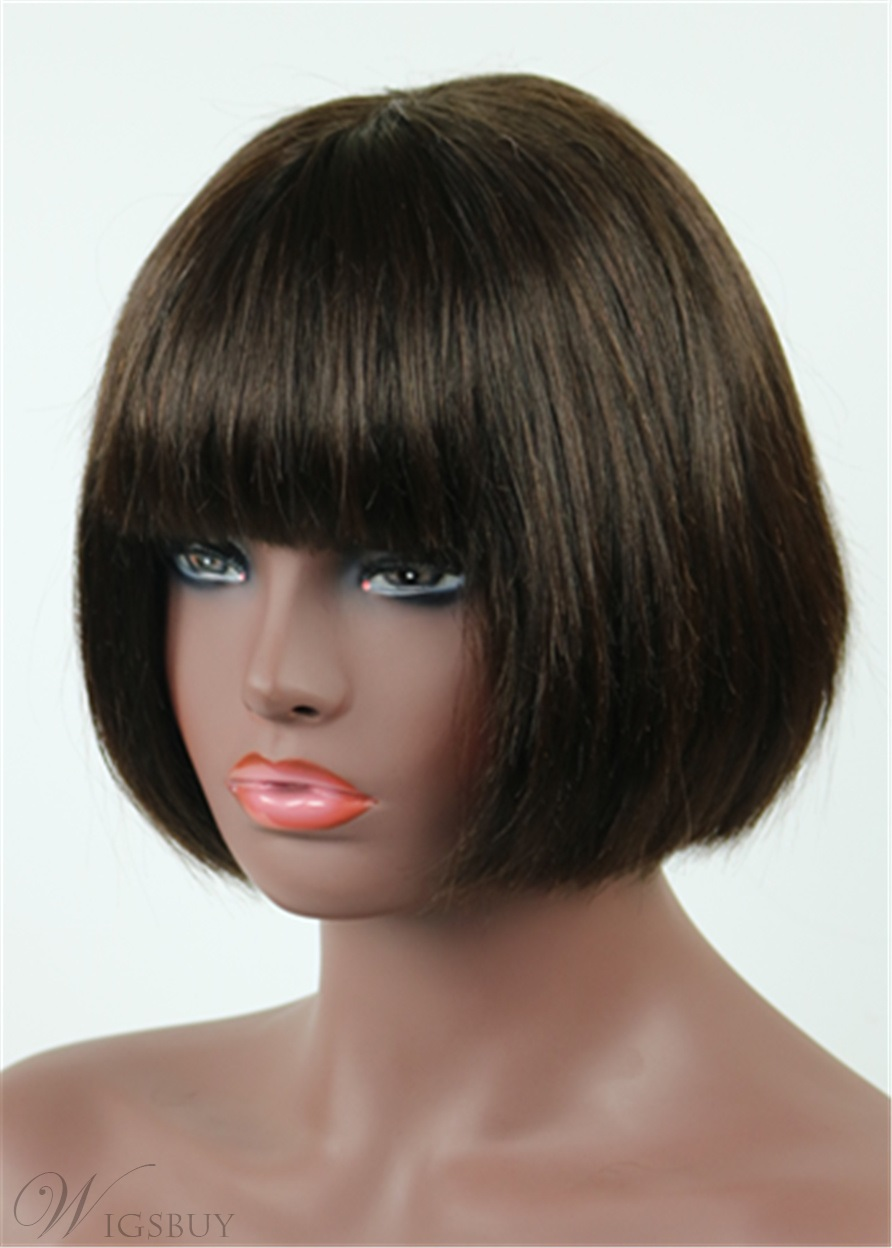 Top Quality Medium Straight Newest Celebrity Hairstyle 100% Human Remy Hair 8 Inches Bob Wig Black