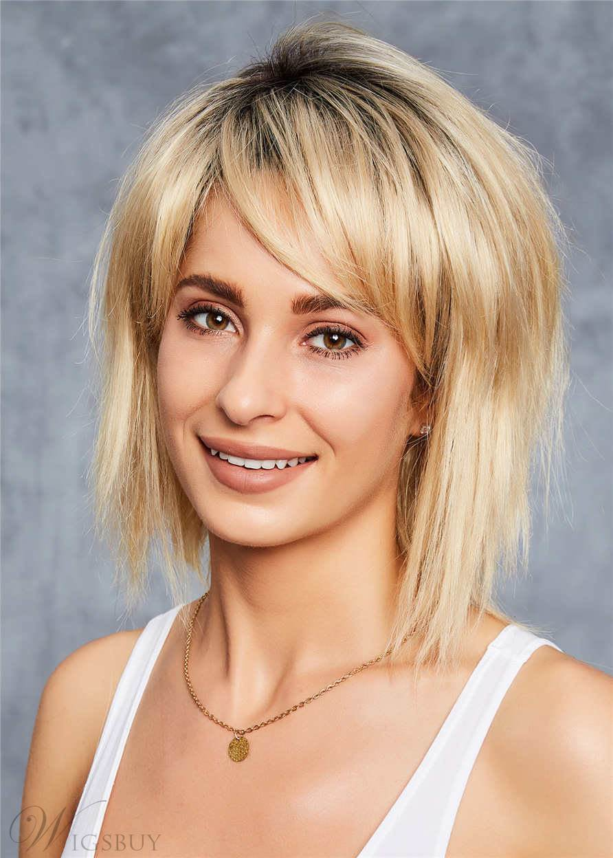 Short Hairstyle Bob Shaggy Human Straight Hair Capless Wigs 10 Inches