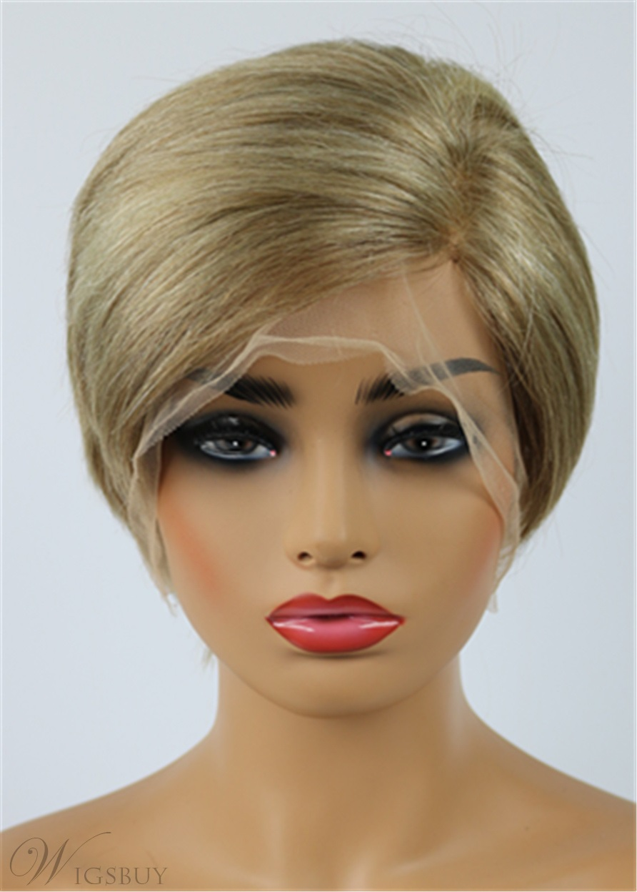 Stylish Short Straight Full Lace Pixie Cut 100% Human Hair Wig