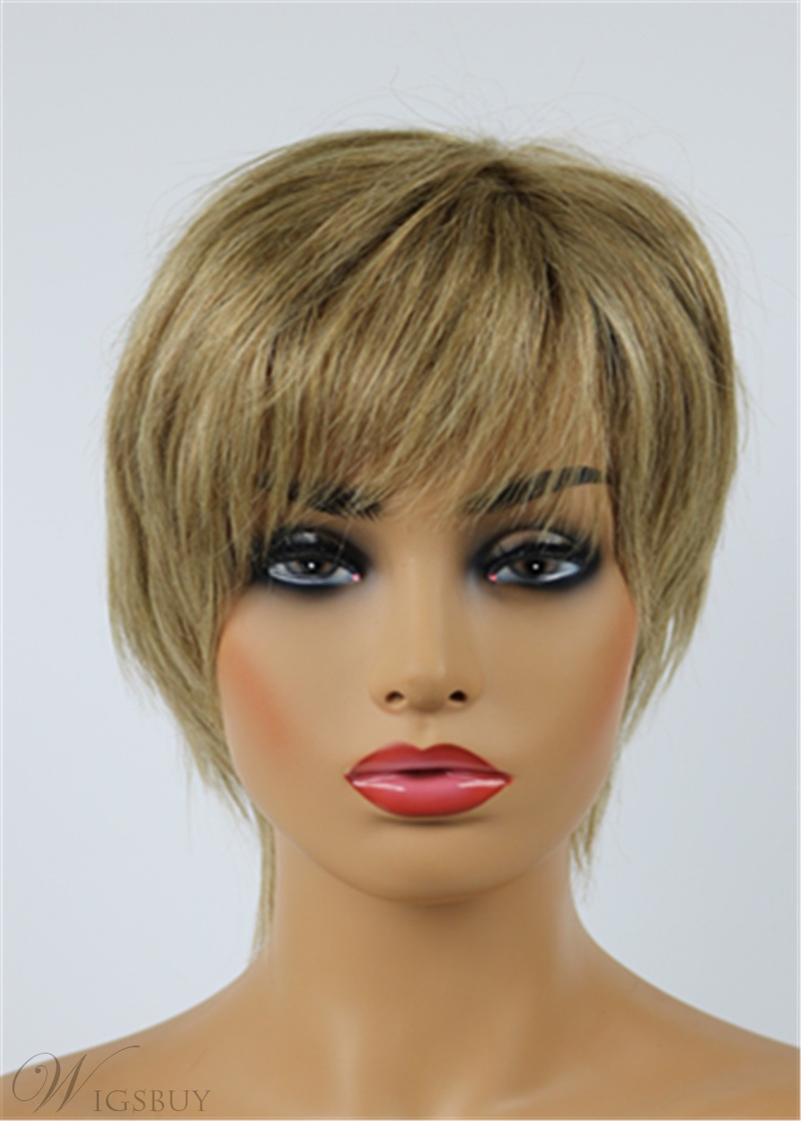 Latest Trend Short Layered Straight Lisa Rinna Hairstyle Capless Human Hair Wig 8 Inches