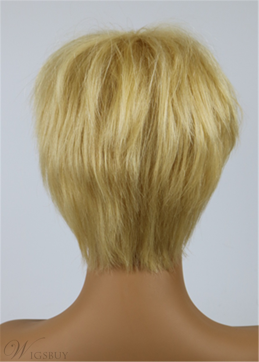 Short Pixie Cut Hairstyles Women's 613 Blonde Straight Human Hair Capless Wigs 10 Inches