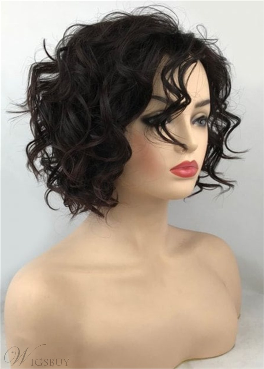 Bob Hairstyle Short Curly Synthetic Hair Capless African American Women Wigs 8 Inches