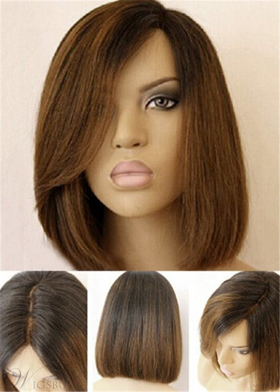 Side Fringe Medium Straight Lob Lace Front Human Hair Wigs 14 Inches