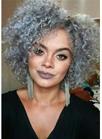 Salt and Pepper Kinky Curly Synthetic Hair Capless Wigs 12 Inches