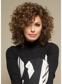 Sexy Women's Mid Length Curly Synthetic Hair Lace Front Cap Wigs 18inch