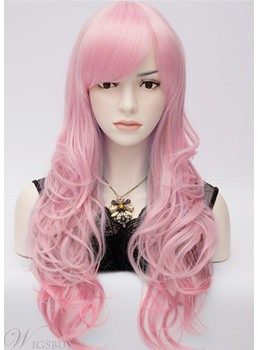 Eye-Catching Long Wavy Pink Color Cosplay Party Wig 28 Inches