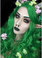Cosplay Long Wavy Green Color Synthetic Hair Wig 26 Incnhes