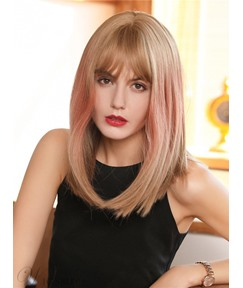 Mixed Color Natural Straight Hairstyles Women's Synthetic Hair Wigs 130% Density Rose Capless Wigs 16Inches